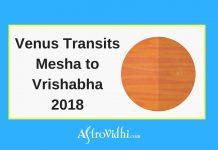 Venus Transits Mesha to Vrishabha 2018