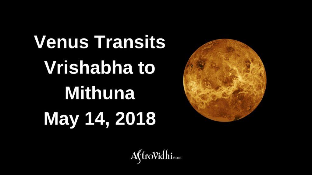 Venus Transits Vrishabha to Mithuna May